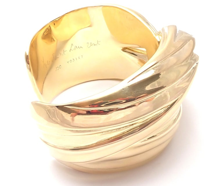 Yves Saint Laurent YSL Paris Solid Yellow Gold Cuff Bracelet For Sale 1