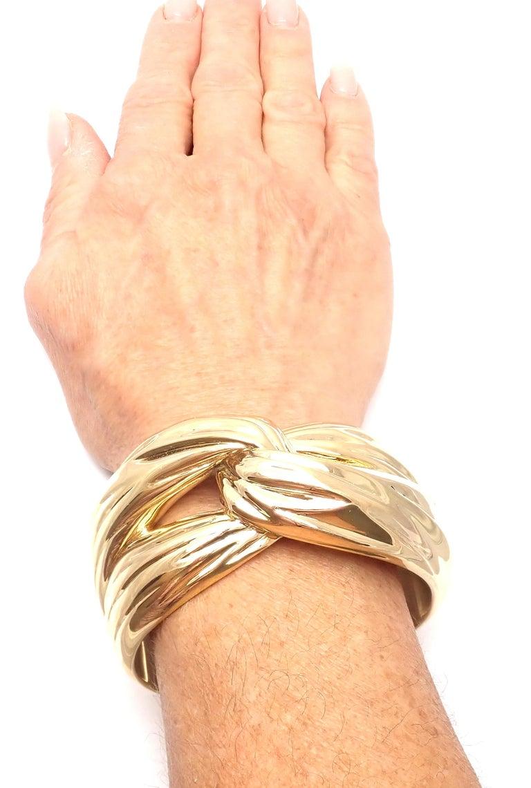 Yves Saint Laurent YSL Paris Solid Yellow Gold Cuff Bracelet For Sale 2