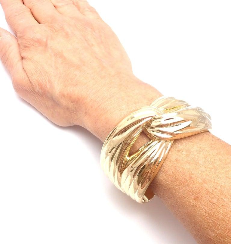Yves Saint Laurent YSL Paris Solid Yellow Gold Cuff Bracelet For Sale 4