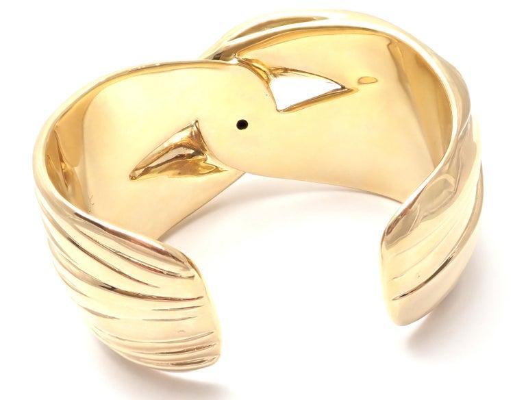 Yves Saint Laurent YSL Paris Solid Yellow Gold Cuff Bracelet For Sale 5
