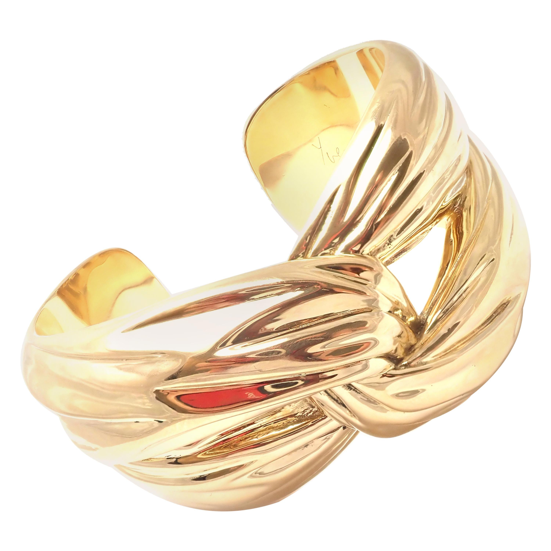 Yves Saint Laurent YSL Paris Solid Yellow Gold Cuff Bracelet