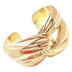Yves Saint Laurent YSL Paris Solid Yellow Gold Cuff Bracelet