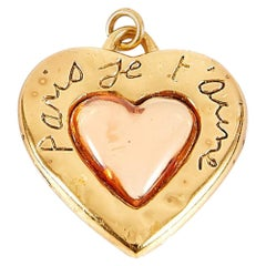 Yves Saint Laurent YSL  Pendant Gold Tone Heart