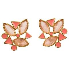 Yves Saint Laurent YSL Pink Jeweled Pierced Earrings