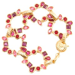 Yves Saint Laurent YSL Pink Red and Gold Tone Bracelet