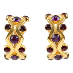 Yves Saint Laurent YSL Purple Jeweled Hoop Clip Earrings