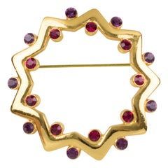 Yves Saint Laurent YSL Purple Red Jeweled Pin Brooch