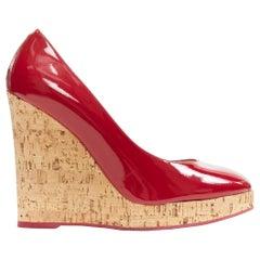 YVES SAINT LAURENT YSL red patent leather round toe cork wedge platform EU39