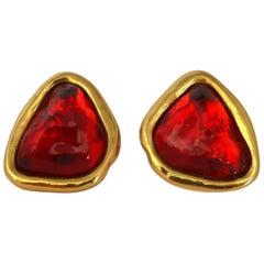 Yves Saint Laurent YSL Red Resin Clip-On Earrings