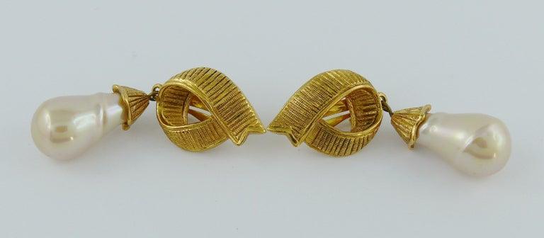 Women's Yves Saint Laurent YSL Ribbon Pearl Dangling Earrings For Sale