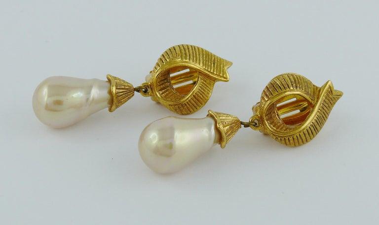 Yves Saint Laurent YSL Ribbon Pearl Dangling Earrings For Sale 1