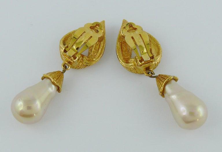 Yves Saint Laurent YSL Ribbon Pearl Dangling Earrings For Sale 2