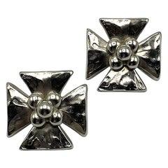 Yves Saint Laurent YSL Rive Gauche Large Silver Cross 1980s Earrings