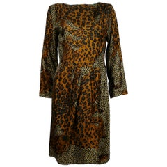 Yves Saint Laurent YSL Rive Gauche Vintage Leopard Print Dress