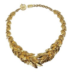 Yves Saint Laurent YSL Robert Goosens design Laurel Leaf Necklace
