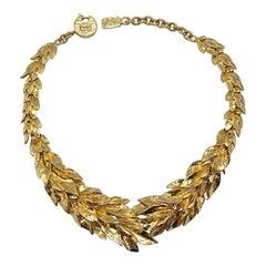 Yves Saint Laurent YSL Robert Goosens design Laurel Leaf Necklace