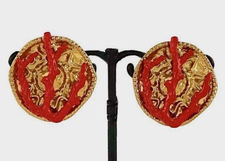 YVES SAINT LAURENT Ysl Robert Goossens Coral Branch Overlay Medallion Earrings For Sale 1