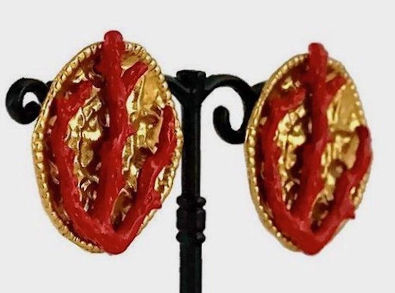 YVES SAINT LAURENT Ysl Robert Goossens Coral Branch Overlay Medallion Earrings For Sale 2