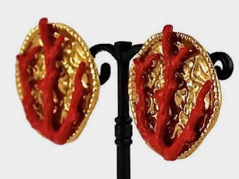 YVES SAINT LAURENT Ysl Robert Goossens Coral Branch Overlay Medallion Earrings For Sale 3