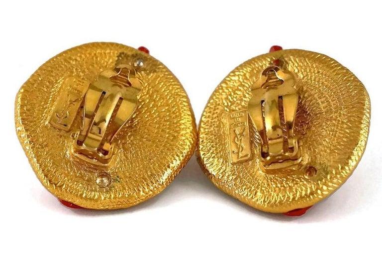 YVES SAINT LAURENT Ysl Robert Goossens Coral Branch Overlay Medallion Earrings For Sale 4