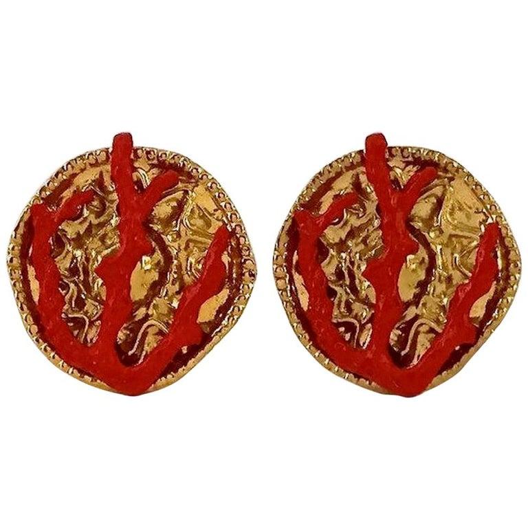 YVES SAINT LAURENT Ysl Robert Goossens Coral Branch Overlay Medallion Earrings For Sale