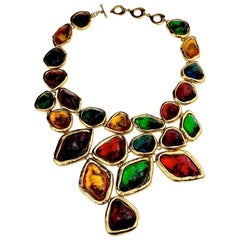 YVES SAINT LAURENT Ysl Robert Goossens Dramatic Multi Jeweled Plastron Necklace