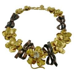 Yves Saint Laurent YSL Robert Goossens Vintage Floral Bow Necklace