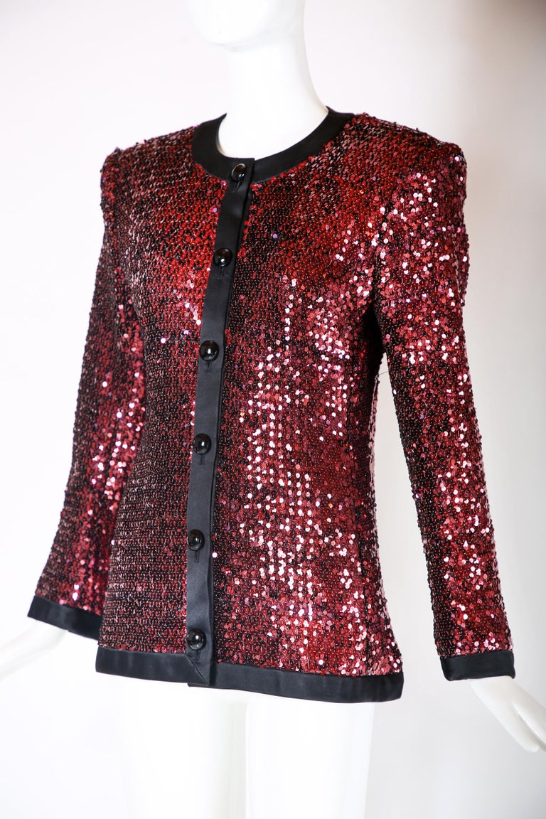 Yves Saint Laurent YSL Sequined Dinner Jacket In Excellent Condition For Sale In Los Angeles, CA