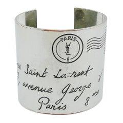 Yves Saint Laurent YSL Silver Toned Address Postcard Cuff Bracelet