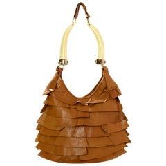 Yves Saint Laurent YSL St. Tropez Mombasa Ruffled Bag w/Horn Handles rt. $1,495