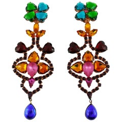 Yves Saint Laurent YSL Vintage Bejeweled Shoulder Duster Dangling Earrings