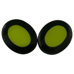 Yves Saint Laurent YSL Vintage Black Green Oval Abstraction Clip-On Earrings