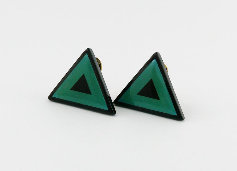 Women's Yves Saint Laurent YSL Vintage Black Green Triangle Abstraction Clip-On Earrings For Sale