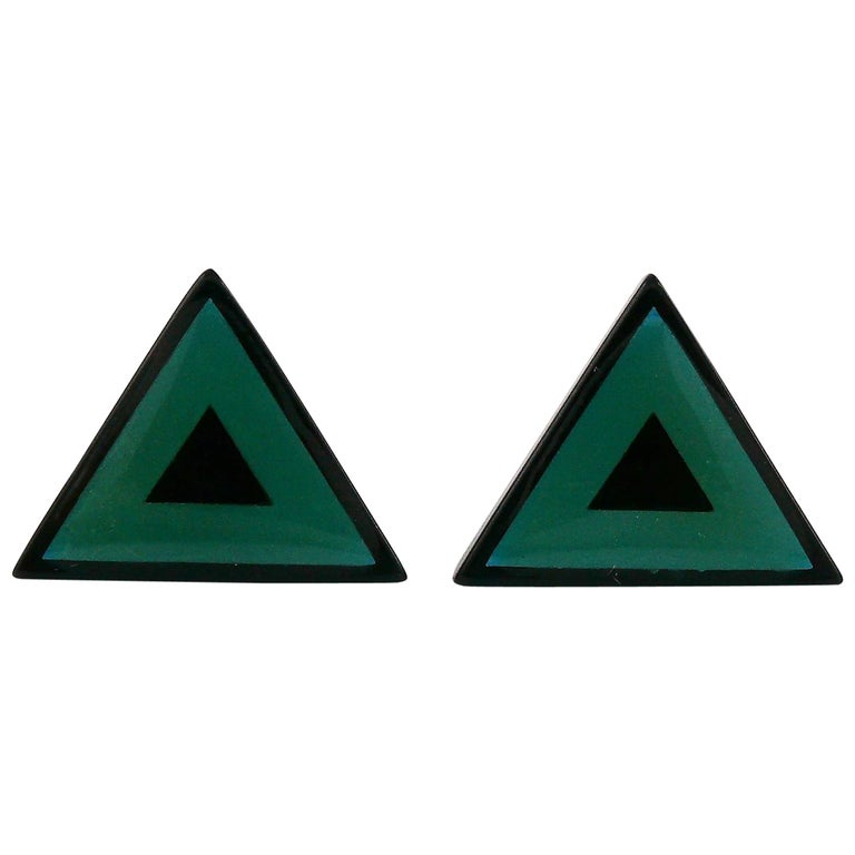 Yves Saint Laurent YSL Vintage Black Green Triangle Abstraction Clip-On Earrings For Sale