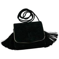 Yves Saint Laurent YSL Vintage Black Suede Tassel Minaudiere