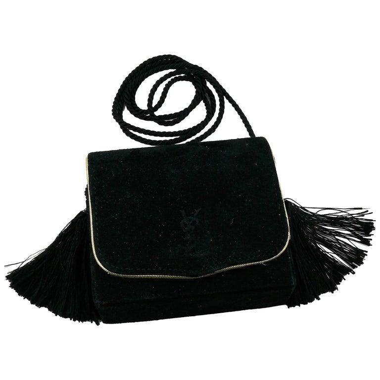 Yves Saint Laurent Ysl Vintage Black Suede Tassel