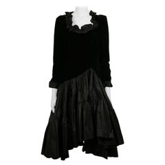 Yves Saint Laurent YSL Vintage Black Velvet & Satin Ruffle Cocktail Dress