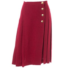 Yves Saint Laurent YSL Vintage Burgundy Red Boucle Wool Pleated 1990s Skirt