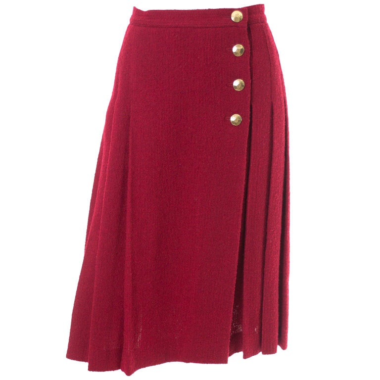 Yves Saint Laurent YSL Vintage Burgundy Red Boucle Wool Pleated 1990s Skirt For Sale