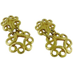 Yves Saint Laurent YSL Vintage Chunky Gold Toned Swirl Dangling Earrings