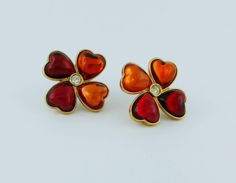 Yves Saint Laurent YSL Vintage Clover Clip-On Earrings In Good Condition For Sale In Nice, FR