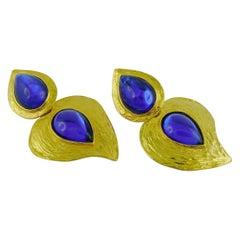 Yves Saint Laurent YSL Vintage Deep Blue Glass Heart Dangling Earrings