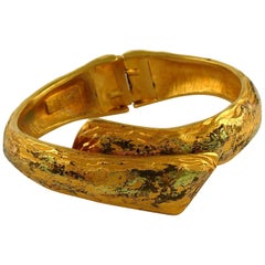 Yves Saint Laurent YSL Vintage Distressed Gold Toned Clamper Bracelet