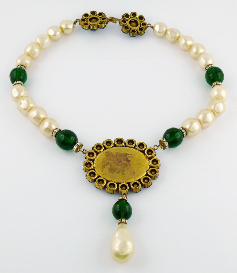 Yves Saint Laurent YSL Vintage Emerald Sapphire Stone Pearl Necklace For Sale 8