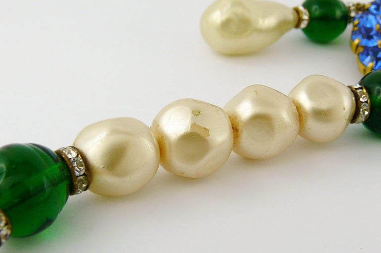 Yves Saint Laurent YSL Vintage Emerald Sapphire Stone Pearl Necklace For Sale 10