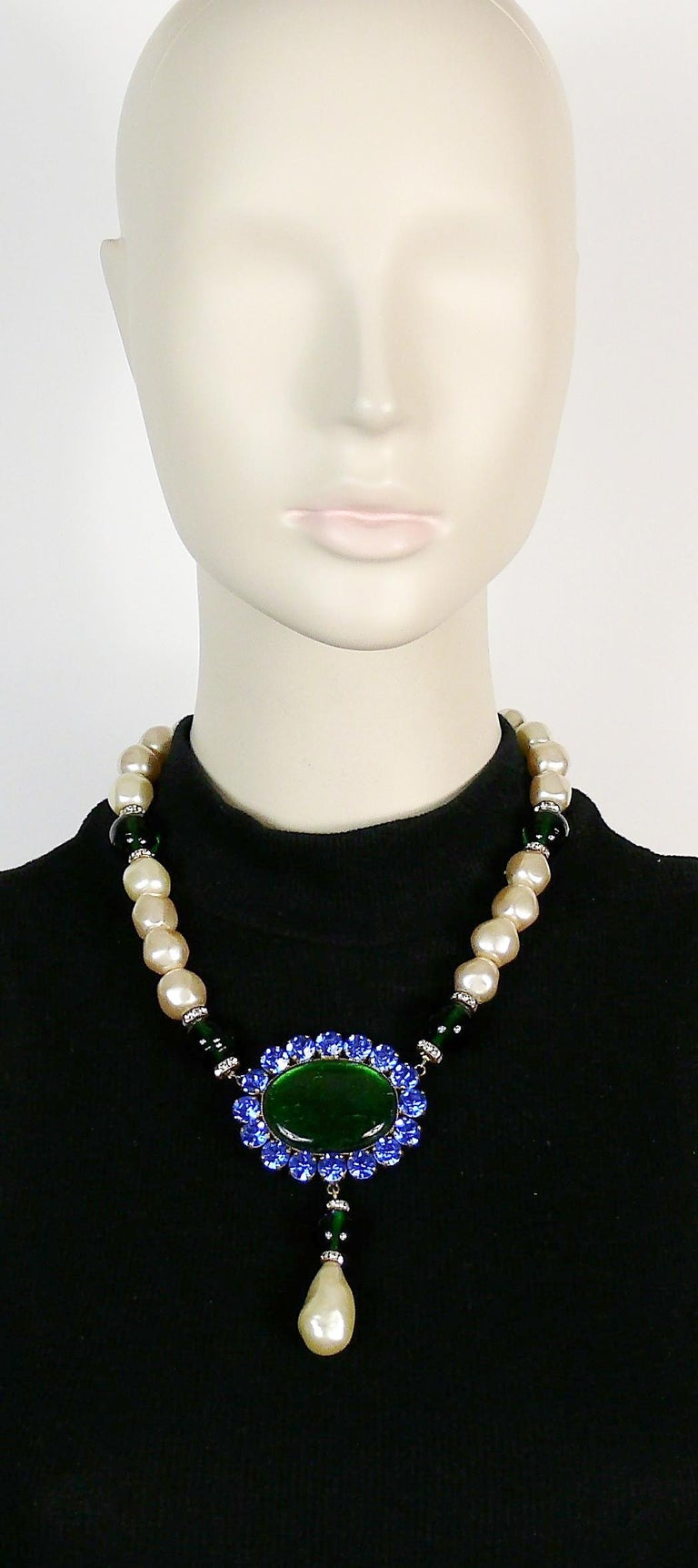 YVES SAINT LAURENT vintage necklace featuring large emerald glass beads/cabochon, faux pearls, emerald/sapphire crystals and clear crystal rondelles.  Hook clasp closure.  Unmarked (missing the YSL signature tag).  Indicative measurements : length