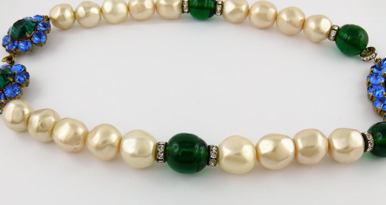 Women's Yves Saint Laurent YSL Vintage Emerald Sapphire Stone Pearl Necklace For Sale