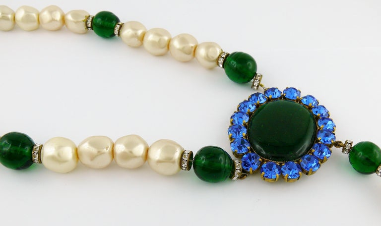 Yves Saint Laurent YSL Vintage Emerald Sapphire Stone Pearl Necklace For Sale 1