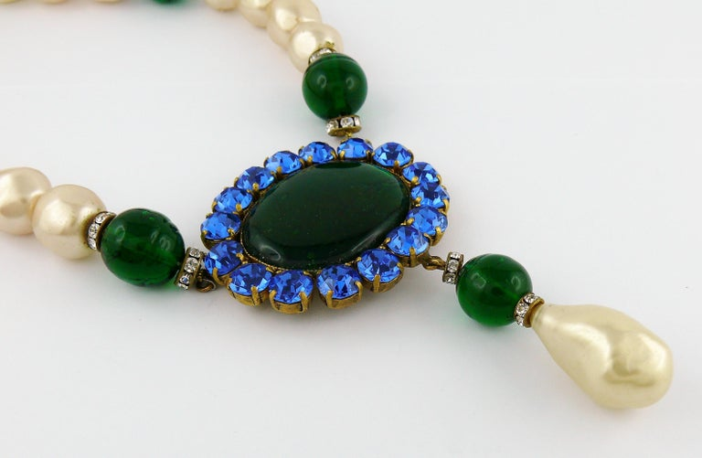 Yves Saint Laurent YSL Vintage Emerald Sapphire Stone Pearl Necklace For Sale 2