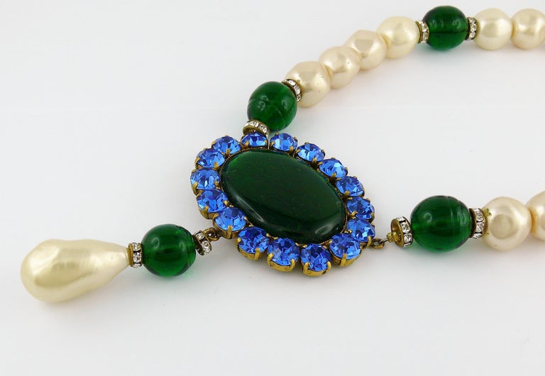 Yves Saint Laurent YSL Vintage Emerald Sapphire Stone Pearl Necklace For Sale 3